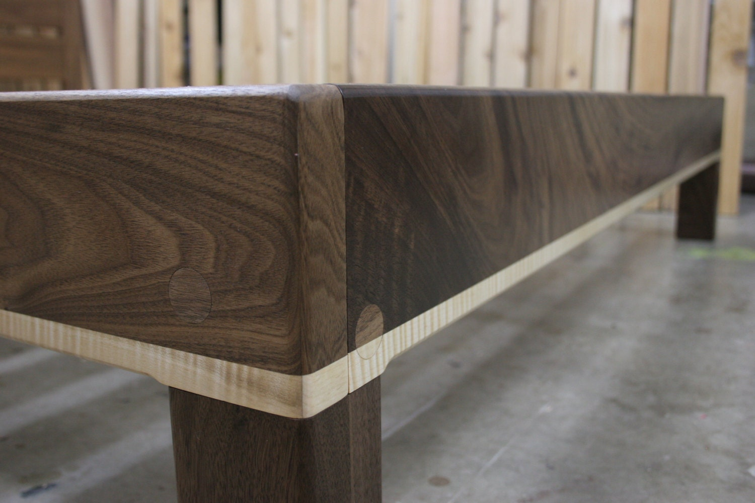 Curly Maple and Walnut Queen Platform Bed Frame with Truly