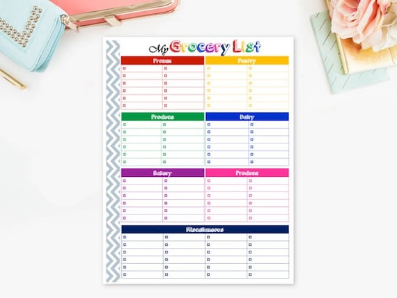 printable grocery list by department