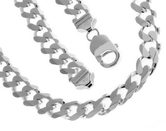 Solid Sterling Silver Cuban Chain 18 Inches 12.9 mm 138 Grams