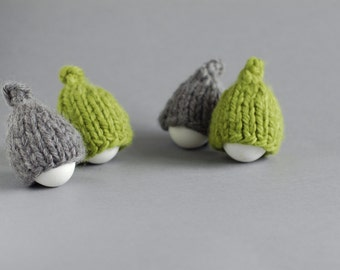 Grey and green egg warmers in rustic style. Set of 4
