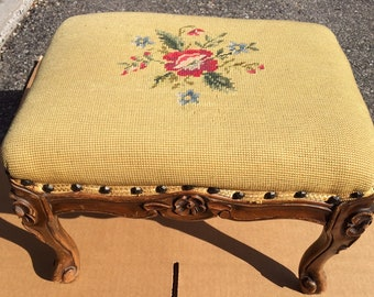 Antique Victorian Floral Needlepoint Wood Foot Stool Family Heirloom Early  1900s Furniture