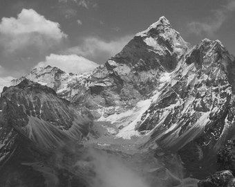 Himalaya Mountain Landscape Art Photography , Wall Art , Home Decor , Spring , Black and White , Himalaya - Peaks and Clouds , 8 X 12
