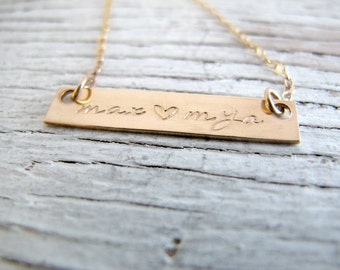 Gold Bar Name Necklace, Mother's Gold Necklace, Personalized Rectangle Necklace, Hand Stamped Gold Jewelry
