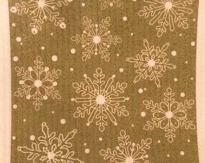 Gold Snowflakes Swedish Cloth