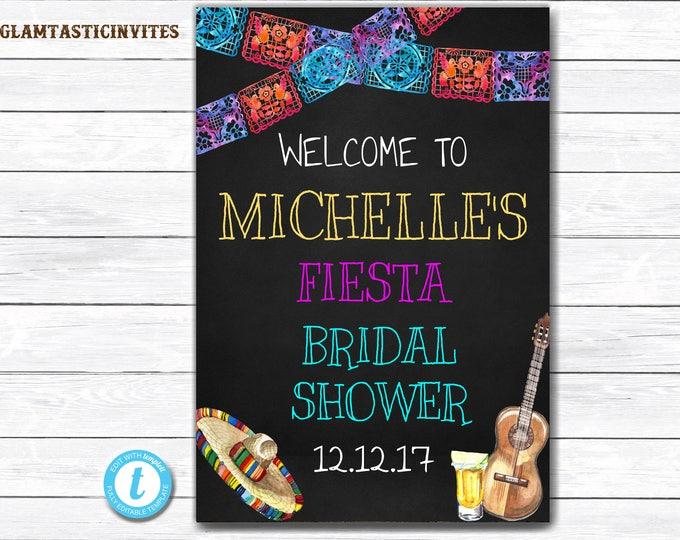 Fiesta Bridal Shower Sign, Fiesta Welcome Sign, Welcome Sign, You Edit, Fiesta Template, Bridal Shower Template, Fiesta Poster Sign, Fiesta