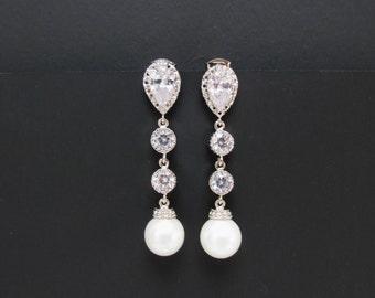 zirconia pearl earrings , silver pearl earrings , bridal pearl earrings , white pearl earrings , long pearl earrings , bridesmaids jewelry