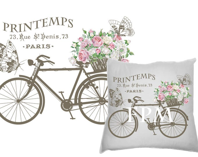 Vintage Digital French Bike, Shabby Bike with Flowers, Spring, Printemps, French Pillow Bike Transfer Graphic Download