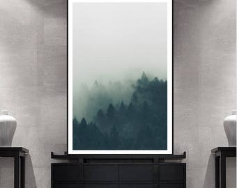 Foggy Forest Print Trees in Fog Nature Art, Landscape Printable Wall Art, Large Wall Art Print, Mountain Print Teal Decor Digital Download
