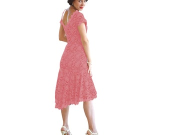 Pinup dress, pink lace Argentine tango dress. Wedding guest dress with open back. Ballroom dance dress. Low back stretch lace dress.