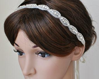 Ready to ship- Wedding Hair Accessory, Beaded Headband, Bridal Headband, Crystal Ribbon Headband, rhinestone headband, hair accessories