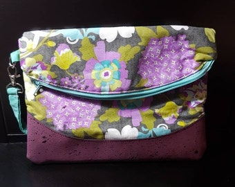 Wristlet foldover clutch/swoon heidi/cork trim/ night out/gift for her/gift for mom
