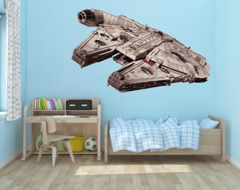 Millenium falcon Wall Decal, Chewie,Han Solo, Star Wars Art Decor, Star Wars Decal,Star Wars  Decal,Star Wars Kid's Room Designs,Droid decal