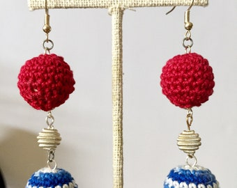 Patriotic Crocheted Earrings / Independence Day Earrings / 4th of July Earrings / Patriotic Jewelry / Independence Day Jewelry / Handmade