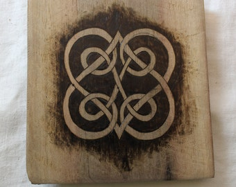 Celtic heart knot, Wood Burned Wooden Trivet