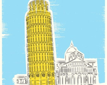 travel decor, Leaning tower of Pisa, Italy architecture,  Contemporary Home, Wall Decor, Minimalist Poster, travel art, Pisa Tower