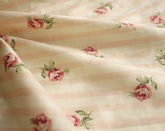 Cotton Fabric Orange Pink Stripe With Pink Rose Cotton Fabric, Chic Fabric- 1/2 yard