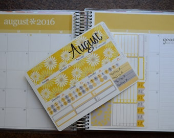 August Monthly Spread Kit Planner Stickers Removable Matte