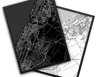 Rabat City Street Map, Rabat Morocco, Office Decor, Home Decor, Rabat Gift Idea, Rabat Decor, Rabat Map, Rabat Poster, Rabat, Morocco