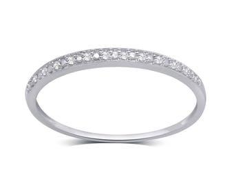 10k White Gold 0.05ct TDW Diamond Accent Wedding Band