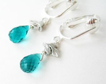 Aqua Teardrop Clip On Earrings, Silver Leaf Dangle Clipons, Light Teal Quartz Faceted Drop Clip Earrings, Silvery Leaves, Handmade, Annika