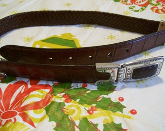 Brighton Brown Leather with Silver Buckle Belt