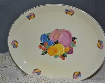 Country Gentlemen Platter / Cavitt-Shaw / W.S. George / 1940s / fruit pattern / gold trim / country / gentlemen / platter / fruit / vintage