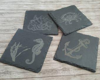 Slate coasters, Custom engraved slate coaster, Beach slate coasters, laser engraved slate coaster set