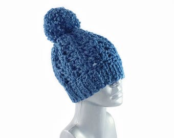Blue Chunky Beanie with Pom, Navy Blue Crochet Hat, Winter Beanie with Puff, Pom Pom Knit Hat, Crochet Beanie, Ski Cap