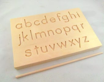 Travel Size Dual Sided Alphabet Tracing board with wooden stylus - Montessori Alphabet Board