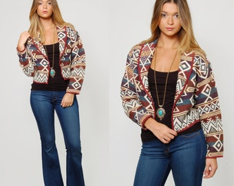 Vintage 80s SOUTHWESTERN Jacket TRIBAL Jacket Boho Cotton Crop Jacket Festival Jacket Native Print Jacket