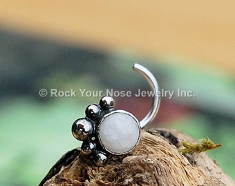 Silver Nose Stud with White Quartz / LUSCIOUS - Pure as the Driven Snow Nose Stud - CUSTOMIZE