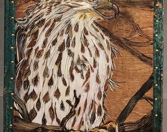 Cooper's Hawk (Accipiter cooperii) Box #17 - 2018 - Curio Box, Handmade, Hand Painted, Original Art, Pyrography, Copper, Gift Item