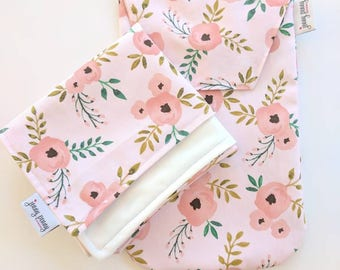 Diaper Clutch and Waterproof Changing Pad in Blush Floral for Diapers and Wipes. Diaper Case and Large Waterproof Changing Pad. PUL Pad.