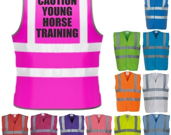 Caution Young Horse Training Horse Riding Hi-Vis Visibility Saftety Vest Equestrian Waistcoat Tumblr Trends Pintrest