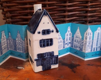Blue Delft's Rynbende Distilleries Holland Old Dutch Houses Buildings Miniatures Blue White KLM 6