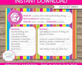 Chef invitation etsy recipe card invitation template cooking birthday party instant download with editable text you stopboris Images