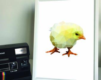 Framed A4/A3 Geometric Chick Print. Home Decor.