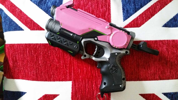 Overwatch Videogame Inspired Pink Cosplay / Collectible Nerf Pistol with  raised front sights