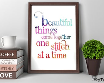 Gifts for Sewers, Craft Room Decor, Beautiful Things Sewing Room Wall Art, Printable Quotes, Gifts for Quilters, DIGITAL Gift, Sewing Art