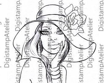 Girls Hat. INSTANT DOWNLOAD Digital Digi Stamps