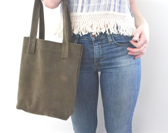 Dark Green Italian Suede Leather Tote/ Shoppers Tote/ Italian leather/ AAA quality