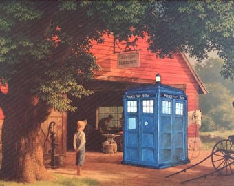 Doctor Who TARDIS Parody - Repurposed Thrift Art - Print Poster Canvas - Dr. Who Fan Art Gift Blue Vintage Geek Decor David Tennant Altered