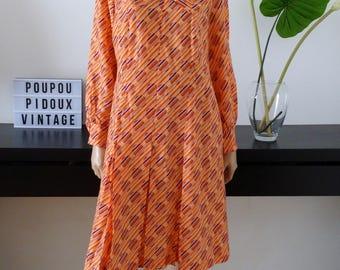 vintage' 60s/70s simprime geometric orange/purple dress size 46/48 Made in France