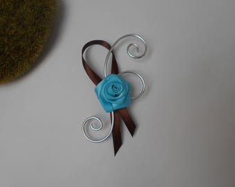 Lapel pin for wedding - turquoise and chocolate