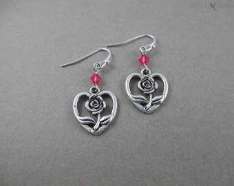 Beauty and the Beast Rose Heart Earrings - Silver Charms