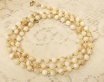 Vintage Japanese Natural Mother of Pearl Single Strand Necklace
