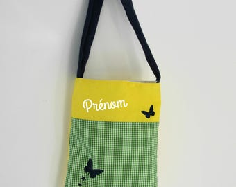 Personalized purse girl, butterflies, nature color. Yellow and green