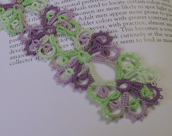 Tatted Bookmark, Purple and Lime Green Variegated. Tatted Bookmark
