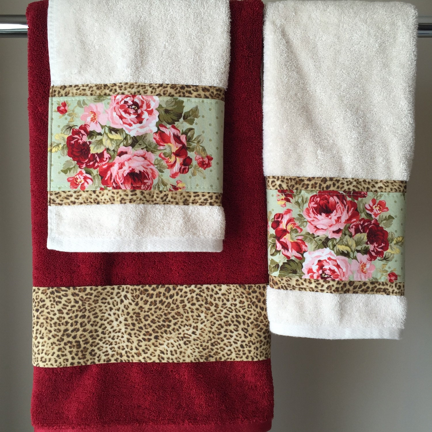 Reproduction Vintage Bath Towels: Bath Towels Towel Sets Vintage Rose Leopard Towels Red