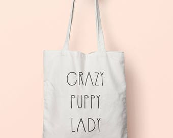 Crazy Puppy Lady Tote Bag Long Handles TB00387